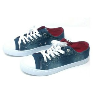 Distressed Jean Sneakers, size 7